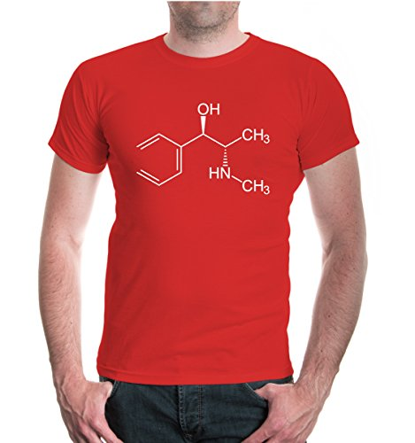 buXsbaum® T-Shirt-Strukturformel-Ephedrin Red-White