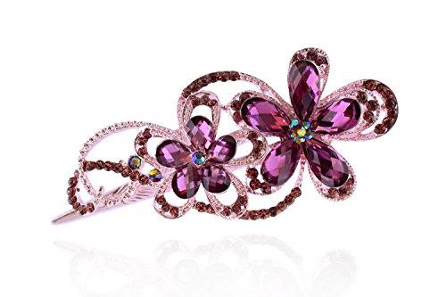 Bouclé Coat Petite (totoroforet: EN FORME DE FLEUR DE Victoria/Retro Stil Bronze Strasssteinen/Strass Haarspange/Blitzschuh Clip–--- Noble violett)