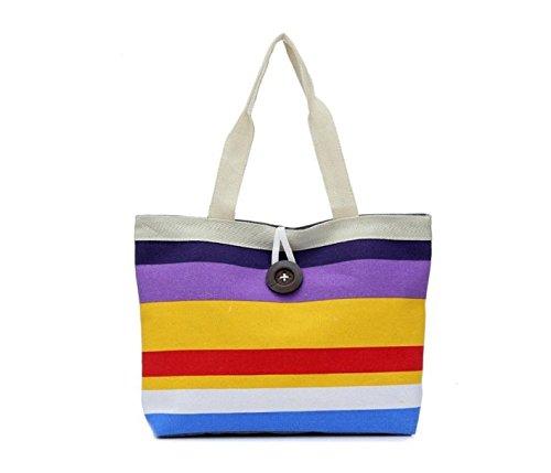 Hippolo signora strisce colorate borsa di tela borsa di acquisto Porpora 1