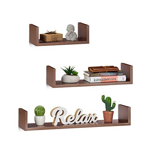 Relaxdays Wandregal, 3er Set, eckige U-Form, freischwebend, 15cm Tiefe, für Bücher, DVDs, Deko, braun