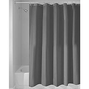 InterDesign Duschvorhang aus Stoff | wasserdichter Duschvorhang mit verstärktem Saum | waschbarer Textil Duschvorhang in der Größe 180,0 cm x 200,0 cm | Polyester dunkelgrau
