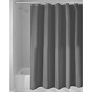 iDesign Solid Poly Duschvorhang aus Stoff, wasserdichter Vorhang mit verstärktem Saum, waschbarer Badewannenvorhang aus Polyester in der Größe 180,0 cm x 200,0 cm, dunkelgrau