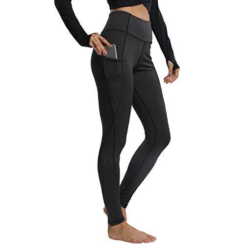 Power Stretch Tights (YOFIT Frauen Power Stretch Plus Größe Hohe Taille Yoga Hose Running Tights Taschen, 2 Grey, X-Large)