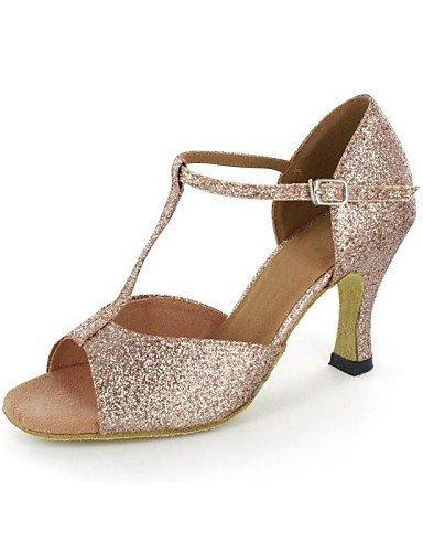 shangyi Latin femmes Sandales Pfennig Paragraphe Glitter Bling Diamant buckie Chaussures de danse Or - or