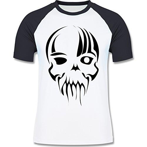 Piraten & Totenkopf - Totenkopf - zweifarbiges Baseballshirt für Männer Weiß/Navy Blau
