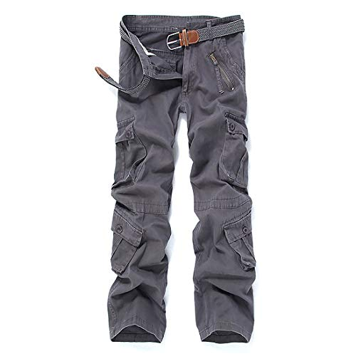 42e9136a765 iCKER Herren Cargo Hose Camouflage Pants Camo Trousers Arbeitshose  Freizeithose,Grau,Taille:97