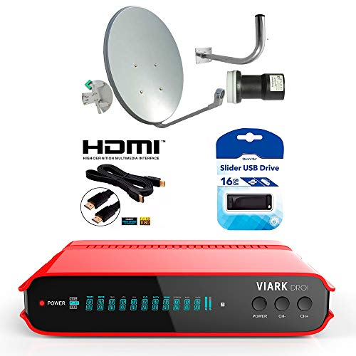Kit CODISEL Receptor VIARK DROI+Parabola 60+LNB+Soporte+Cable HDMI+USB 16GB