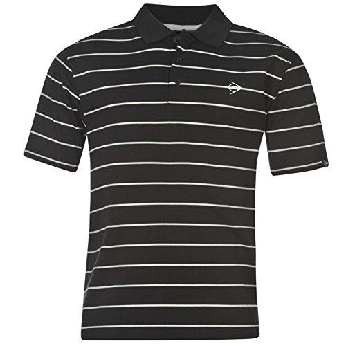 Dunlop Herren Stripe Golf Polo Shirt Kurzarm Tee Top T-Shirt Extra Leicht Schwarz XX Large