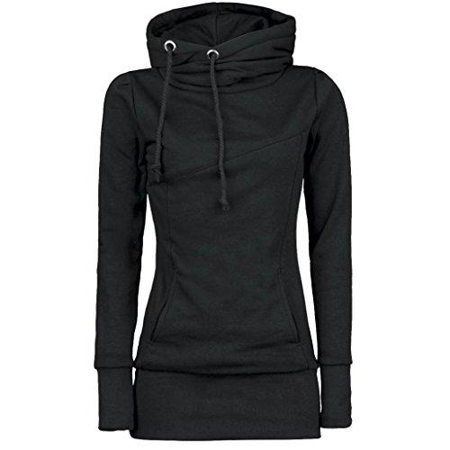 Winwintom Mode Femmes Loose Pullover T Shirt Blouse à manches longues Noir