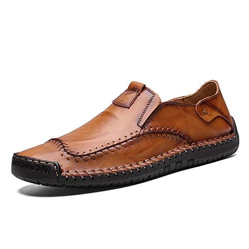 HILOTU Penny Slipper für Herren Lässiger bequemer Slip-On-Slipper Atmungsaktiver Outdoor-Slipper aus echtem Leder (Color : Braun, Größe : 48 EU) -