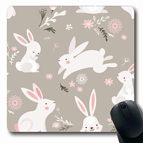 Luancrop Mousepads Frühlings-Aquarell-Kaninchen-Ostern-Muster-Häschen-Feiertags-Häschen-Natur-Nette Ei-Mamma-glücklicher Entwurfs-rutschfeste Spiel-Mausunterlage Gummi-längliche Matte -