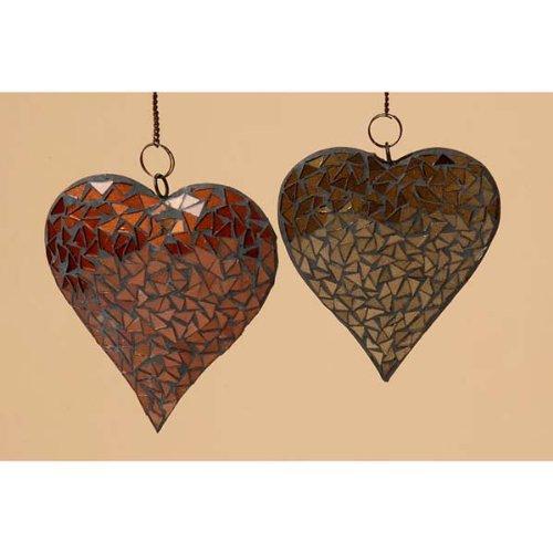 Mosaic Heart Hanger 15 CM Brown