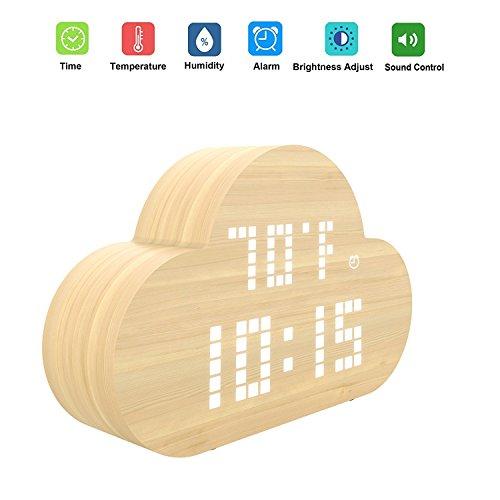 Digital Wecker, ALED LIGHT Holz LED Digitaluhr Großes Display mit Temperatur und Luftfeuchtigkeit, USB Lade Einstellbare Licht Nahtlose Cloud Schreibtisch Smart Wecker Ideal Timer für Kinder, Schlafzimmer, Wohnzimmer, Bibliothek