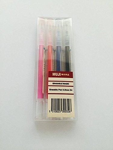 MUJI 0.5mm Radierbarer, magischer Gel-Stift, 4Farben-Paket: Pink + Rot + Blau + Schwarz