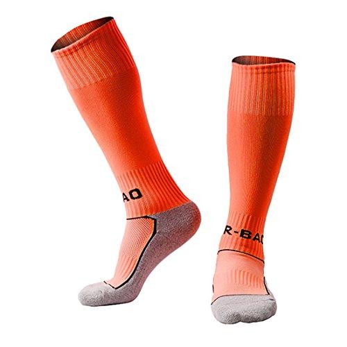 Kinder Teamwear Fußball Socken im Fußball Team Schule Training Socken für 8-13 Jahre alte Jungen und Mädchen (Europäische Schuhe Größe 33-37) (Orange) (Team Schuhe Orange)