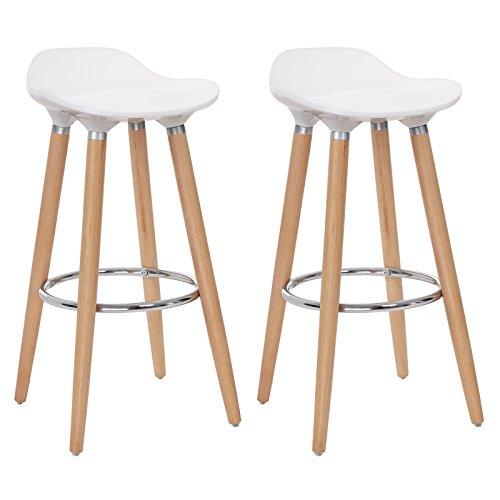 SONGMICS 2er-Set Barhocker Sitzhöhe 73 cm Tresenhocker Beine aus Buche Sitzschale aus Kunststoff Weiß LJB20W - Weißer Barhocker