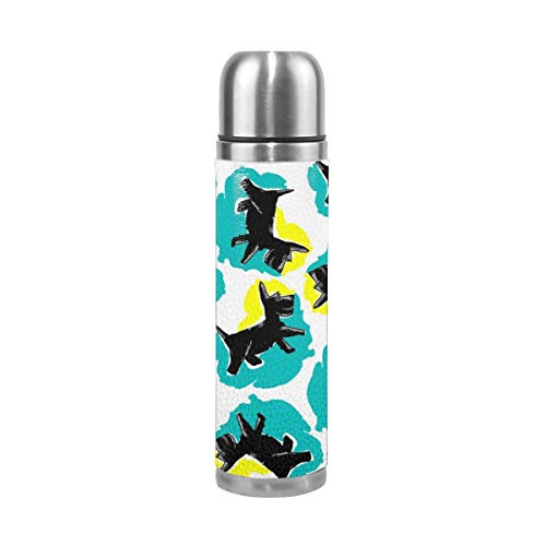 Pads bag Style Scottie Dog In and Turquoise 17 Oz Stainless Steel Vacuum Insulated Water Bottle Leak Proof Double Wall Keep Drinks Hot Cold