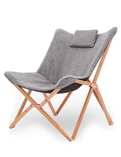 Suhu Klappstuhl Camping Stuhl Lounge Sessel Modern Design Retro Stühle Liegestuhl Klappbar Gartenliege Auflagen Hochlehner TV Relaxliege Mit Holzrahmen Stoff Für Balkon Hellgrau