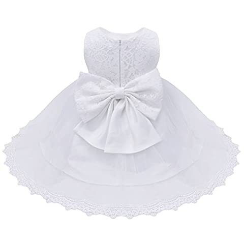 YiZYiF Lace Flower Girl Baby Christening Wedding Formal Bridesmaid Party Princess Dress (9-12 Months, White (Floral
