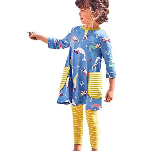 bobo4818 Baby Mädchen Kleider, Baumwolle Casual Kleider Besondere Anlässe Cartoon Print Kleider Casual Dress für Kleinkind (4T, Blue)