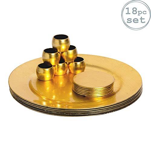 Platos sitio posavasos servilleteros - dorados - Set