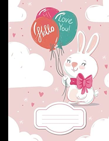 White Rabbit With Balloon Or Mini bunny - Composition Notebook: College Wide Ruled Writer
