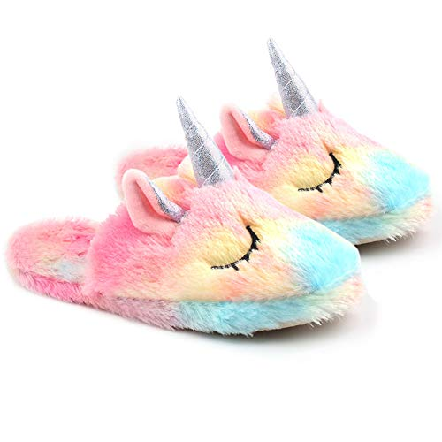 Unicorn Slippers,Lovely Soft Winter Indoor Shoes for Kids Unicorn Slippers Soft Plush Slip-On Animal Shoes for Christmas