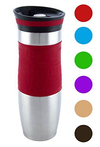 (Edelhoff sidabrinai) Premium Qualität Isolierte Vakuum Reisebecher, einhändige öffnen und Trinken, doppelwandig und auslaufsicher für jeden Hot und Cold Drink (480ml, 16oz) - rot (16 E Flüssigkeit Oz)