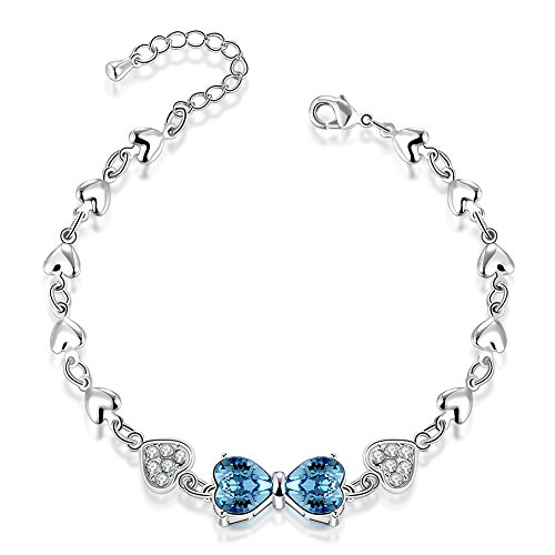 City Ouna® principessa amore Link bracciale con Swarovski Blu elementi cristallo di allungamento con fiocco forma per le signore don