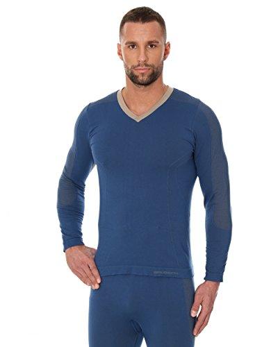 BRUBECK® LS12330 Mens Pyjamas( Langarm-Shirt) | Schlafanzug | MicroModal Air | Klimaregulierender Komfort | Einzigartige Weichheit Blue Jeans