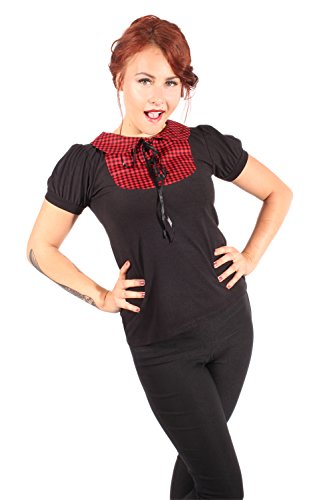 SugarShock Damen Bubikragen Puffärmel Gingham pin up Rockabilly Karo punk rock T-Shirt XL -