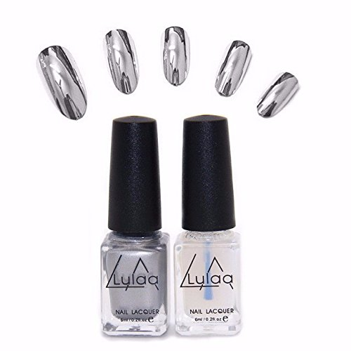 Generic 2Pcs/Set Magic Mirror Effect Metallic Silver Nail Art Varnish Polish & Base Coat