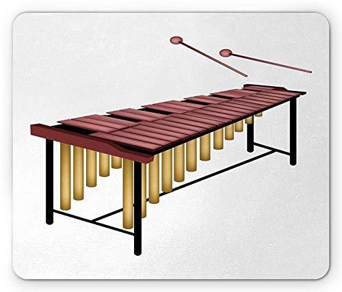 Gaming Mauspad, Marimba Mauspad, Illustration eines Percussion Instruments mit Holzstäben, Standardgröße, rechteckig, rutschfest, Gummi-Mauspad, getrocknete Rose Sand Braun Schwarz