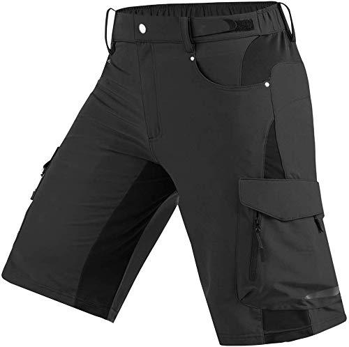 Cycorld MTB Hose Herren MTB Shorts, Atmungsaktiv Mountainbike Hose Fahrradhose Herren Kurz Baggy Bike Short mit Multiple Taschen, Geeignet zum Radfahren Wandern Outdoor-Sport (Schwarz, M)