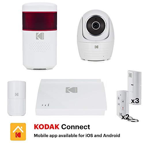 KODAK Pack Alarme Vision +, Système d'alarme connecté ( batterie et sirène intégrées ) livrée avec 1 caméra motorisée FULL HD 1080P, 6 accessoires et une sirène extérieure 105Db