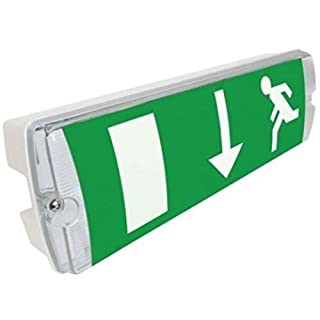 Slimline LED Emergency IP65 Maintained Or Non Maintained Waterproof Fire Exit Sign Bulkhead Light Fitting With Green Legend Kit Low Energy EM3 NM3 M3 E3M 3 Hour Sign Light With Battery Backup