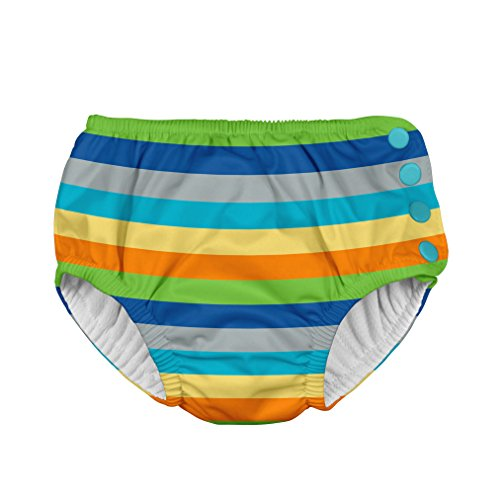 i play. Boys' Snap Reusable Absorbent Swim Diaper-mm, Gray/Multi Stripe, 18mo