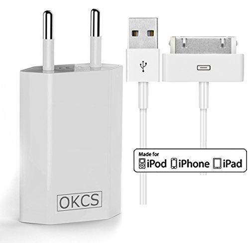 4 Ipod Ladestation (OKCS Ladeset - USB Ladekabel 0,9M + 1A Netzteil für Apple iPhone 4, 4s, iPad 2, 3 & iPod - in Weiß)