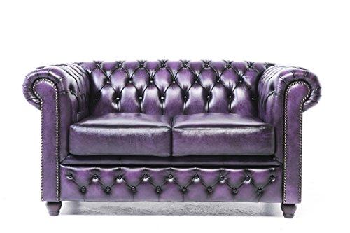 Original Chesterfield Sofa und Sessel – 1 / 2/ 2 Sitzer – Vollständig Handgewaschenes Leder – Antik Violett