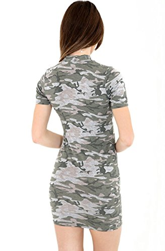 Femmes Impression Camouflage Foulard V Cou Lacer Contre Le Corps Robe Camouflage Gris