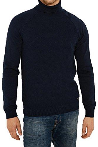 Hommes Threadbare Dillon Fin Tricoté Pull Coton Riche Marine - Bleu