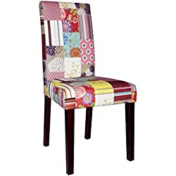 Juego de dos sillas tapizadas de 100% PES, patas de pino colonial, patchwork de terciopelo, 20,000 rozaduras