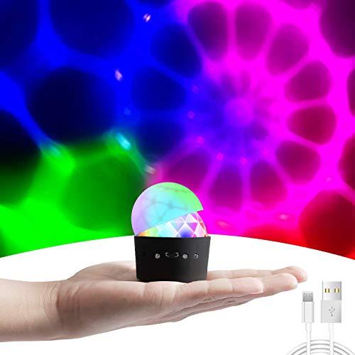 Discokugel Discolicht Partylicht Kinderdisco Partybeleuchtung-Cobiz Party Lichter Mit 3W RGB 3 Led, MINI Tragbar Wiederaufladbar Musikgesteuert Partykugel Kleine Geschenke Für Kinder