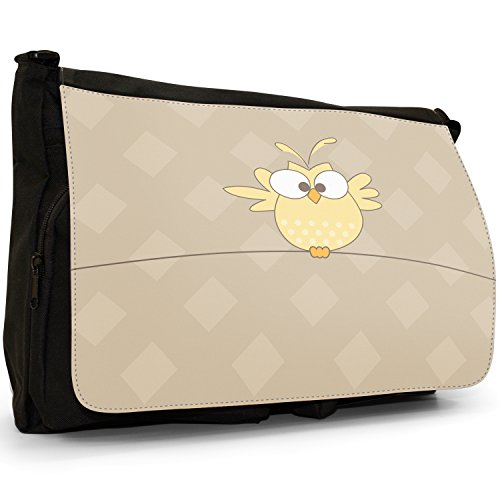 Fancy A Bag Borsa Messenger nero Big Eyed Yellow Owl Flapping Wings Big Eyed Yellow Owl Flapping Wings