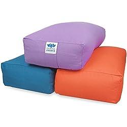CalmingBreath Yoga Bolster rectangular, algodón - alforfón lleno