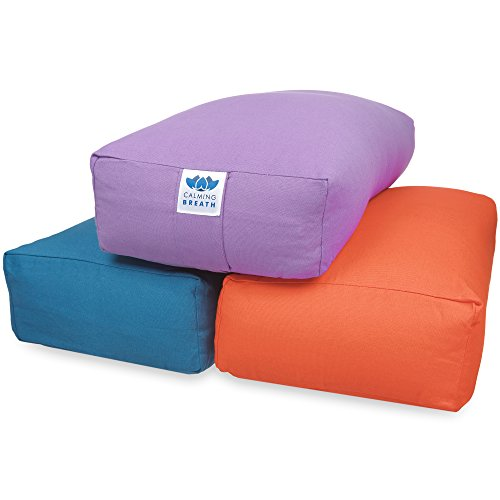 CalmingBreath Traversin de yoga, rectangulaire, sarrasin rempli, Coton- superbes couleurs !