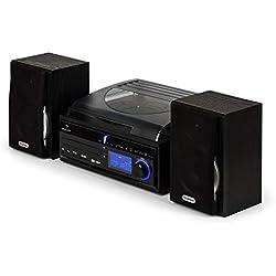AUNA DS-2 - Chaîne stéréo, Compacte, Platine Vinyle, Lecteur CD, Récepteur Radio, Entrées USB/SD, Fonction enregistreur MP3, Horloge intégrée, Fonction réveil, Egaliseur, Noir