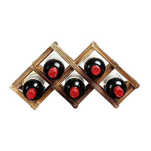 Mount-flasche Wein-rack (Qinqin666 Faltbare Holzwein-Rack 6 Flaschen Holder Mount Bar Display Shelf Holzfarbe 45x12x24cm)