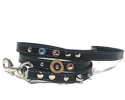 Superpipapo Passende Echt-Leder Hundeleine, Ausgefallenes Handgemacht Design mit Nieten Jeans Echt-Lederstücke und Holz Scheiben - Cp-holz
