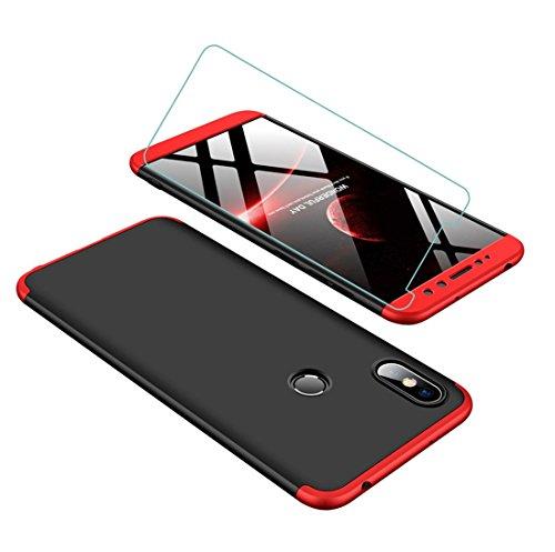 Funda Xiaomi Redmi S2 360 Grados Rojo Negro Ultra Delgado Todo Incluido Caja del teléfono de la Protección 3 en 1 PC Case + Protectora de Película de Vidrio Templado JOYTAG-Rojo Negro